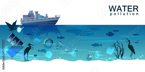 Fototapeta Water pollution concept with oil tanker, waste, plastic bags, bottles, tire, barrel, birds, fish in trendy blue colors. Ocean contamination background with copy space. Environment protection banner obraz