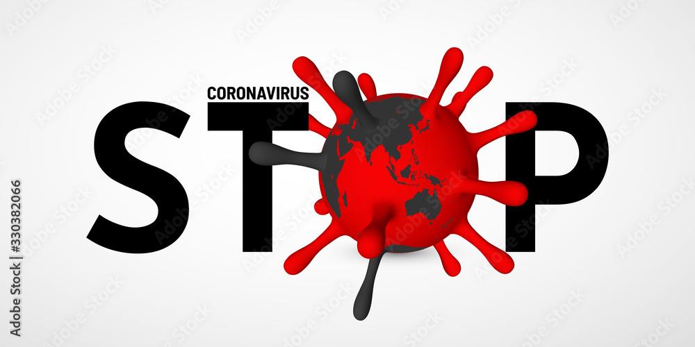 Fototapeta Stop Coronavirus Covid-19, 2019-nKoV. Illustration of virus unit. World pandemic concept. Vector illustration