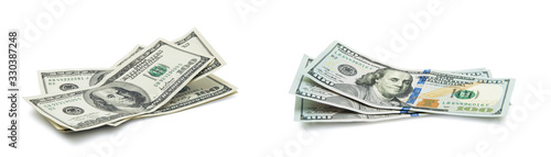 American dollars on white background Canvas Print