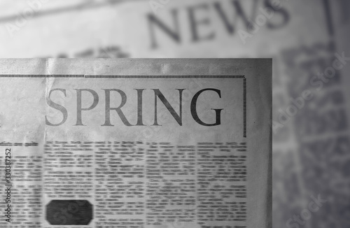 Fototapety, obrazy: Spring - Newspaper slogan. An important word and title.