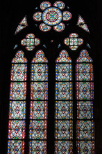 Mosaic Of A Stained Glass Arched Window In Notre Dame De Paris, Before The Fire