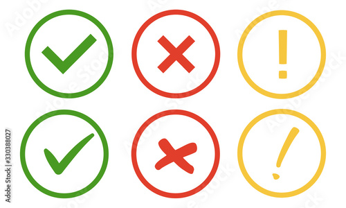 Obraz Check, alert and uncheck icons isolated on a white background. - fototapety do salonu
