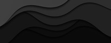 Modern Web Design Banner And Poster.Abstract Illustration With Black Waves. Wavy Dark Background.