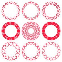 Vector Set Of Round Frames With Red Hearts In A Marine Style