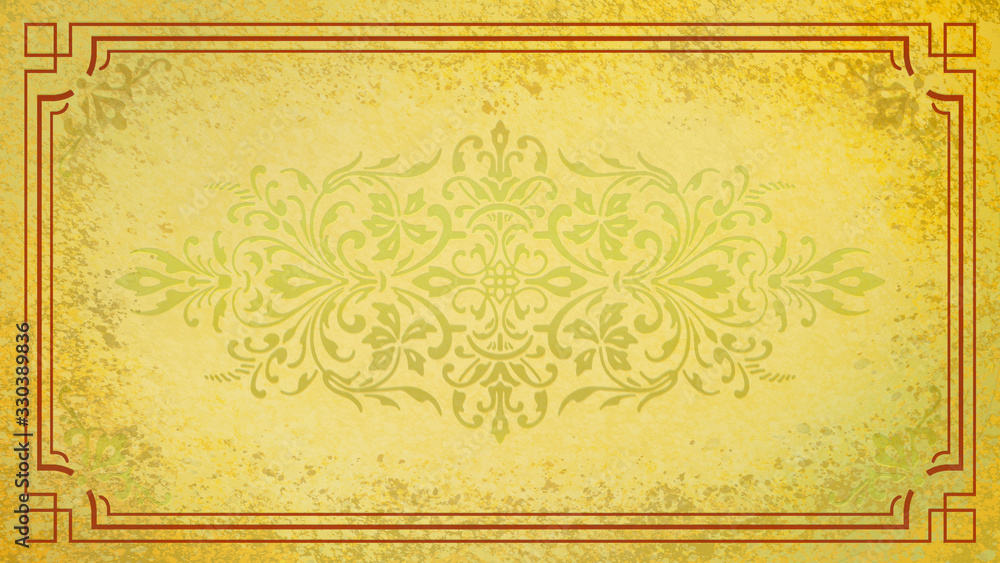 Jugendstil floral Ornament auf Hintergrund Pastell gold gelb Rand braun Textil Wand antik altes Papier Vorlage Layout Design Template Geschenk zeitlos schön alt barock edel rokoko elegant background