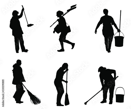 Photo Cleaning lady wit broom