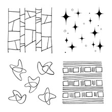 Set Of Vector Mid Century Handmade Graphic Elements, For Decoration, Invitations, Posters, Card, Fabric.