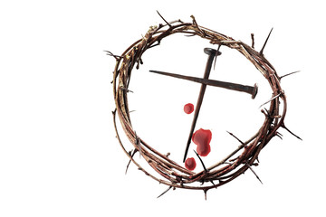 Crown of thorns with nails on white background. Easter background. Jesus Christ.