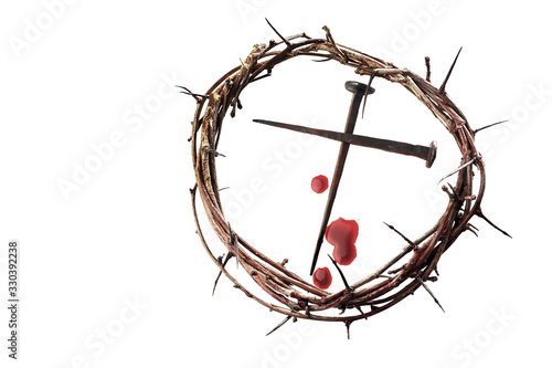 Leinwand Poster Crown of thorns with nails on white background