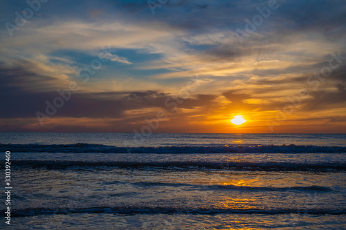Golden Sunset Seascape Beach Waves Cloudy Sky