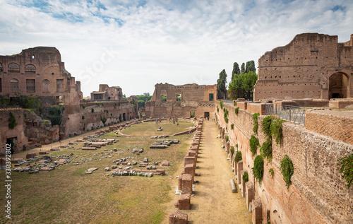 Fotografie, Obraz The garden or stadium of Domitian Imperial palace (Stadio di Domiziano, aka Circ