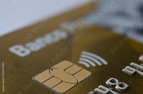 credit card with chip and approximation Canvas Print