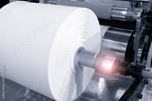 The operation of automatic plastic bag production machine Fototapet