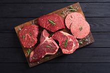 Variety Of Raw Beef Meat Steak