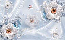 3d Wallpaper  With White Flowers On Blue Background