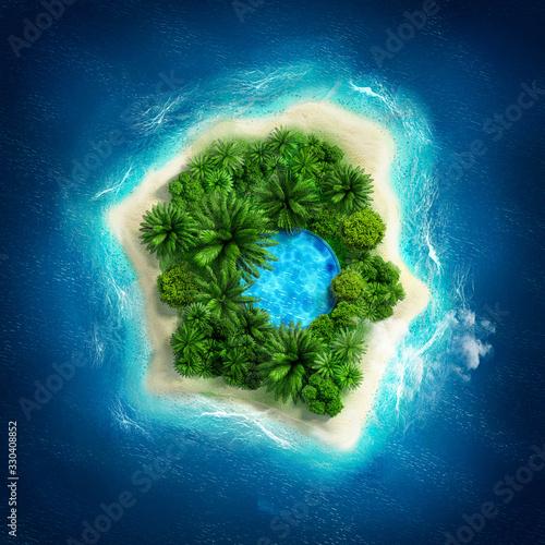 Beautiful tropical island. 3d illustration, 3d rendering. Fototapete