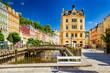 Kurort Karlsbad an der Mühlbrunnkolonnade in Böhmen, Tschechien