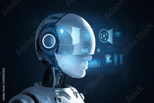 Cyborg with graphic display Poster Mural XXL