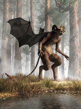 A Hoofed Creature With An Animal Head, Horns And Bat Wings Stands In The Pine Barrens. The Jersey Devil Is A Legendary Cryptid Of Southern New Jersey. 3D Rendering.
