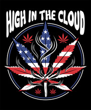 High In The Cloud Cannabis Flag Shape T-shirt And Apparel Trendy Design With Simple Typography, Good For T-shirt Graphics, Poster, Print And Other Uses.
