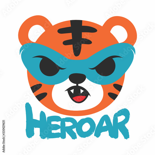 Cute tiger heroar art design vector illustration ready for print on t-shirt, apparel, poster and other uses.	 Wall mural