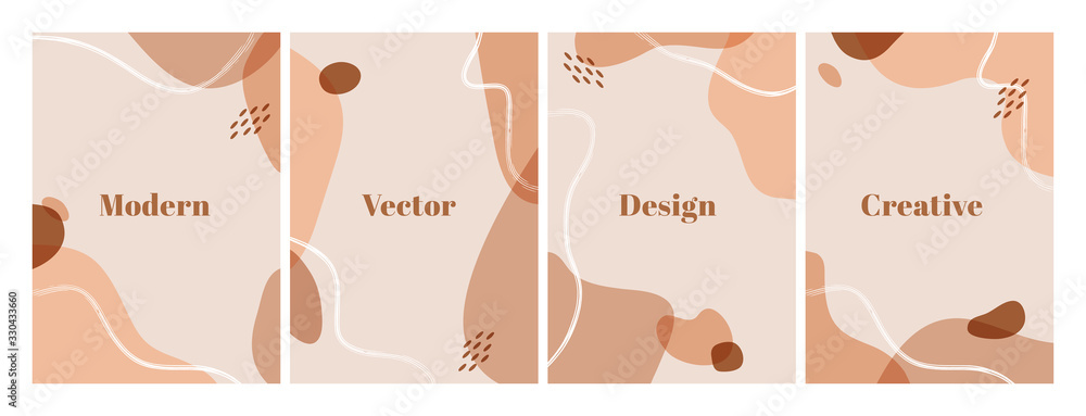 Fototapeta Set of modern design template with abstract organic shapes in pastel colors. Minimal stylish background for beauty presentation, flyer, banner and branding design. A4 format. Vector illustration