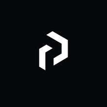 Minimal Elegant Monogram Art Logo. Outstanding Professional Trendy Awesome Artistic P PD DP Initial Based Alphabet Icon Logo. Premium Business Logo White Color On Black Background