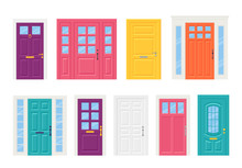 Front Door. Vector. Set House Doors Isolated On White Background. Cartoon Illustration. Building Entrance, Doorway.