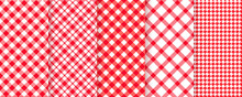 Tablecloth Picnic Seamless Pattern. Red Gingham Background. Vector. Plaid Cloth Napkin Texture. Checkered Diagonal Kitchen Print. Retro Wallpaper With Check Square Glen Houndstooth. Color Illustration