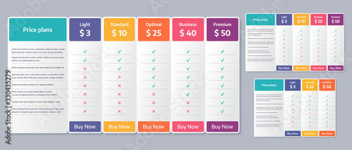 Fototapeta Price table template. Vector. Comparison plan chart. Set pricing data grid with 3, 4 and 5 columns. Checklist compare tariff banner. Color illustration. Flat simple design. obraz