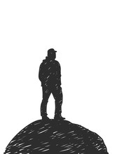 Hand Drawn Silhouette Of Man S...