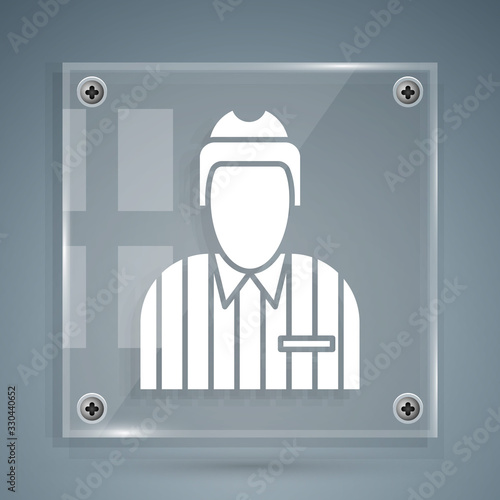 White Hockey judge, referee, arbiter icon isolated on grey background Wallpaper Mural