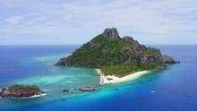 Aerial View Of Paradise Island Monuriki  / Modriki, Fiji. Cast Away Movie, Wilson, Drone Footage.