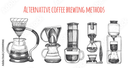 Illustration with an alternative way of brewing coffee Canvas Print