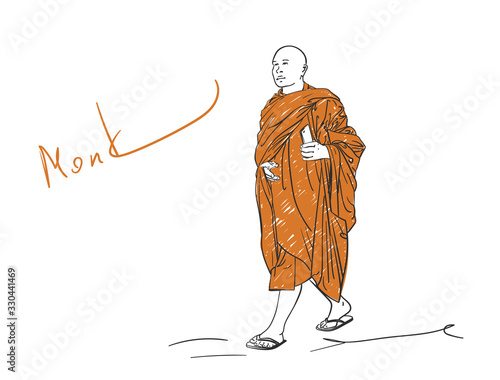 Photo Colored sketch of walking buddhist monk with smart phone in hand, Hand drawn vec