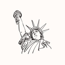 Sketch Of Statue Of Liberty New York City USA, Head With Hand Raised Up, Hand Drawn Vector Linear Illustration