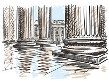 Sketch Of Town Hall Of Paris 5th Arrondissement Seen From Pantheon Colonnade, Hand Drawn Vector Illustration