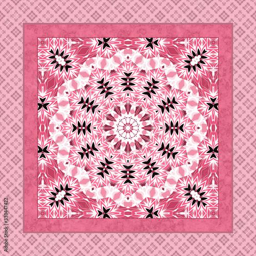 Seamless square mandala circle bandana pattern Canvas Print
