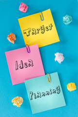 Colorful cards with inscriptions