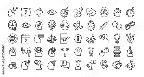 bundle of alzheimer set icons Fototapeta