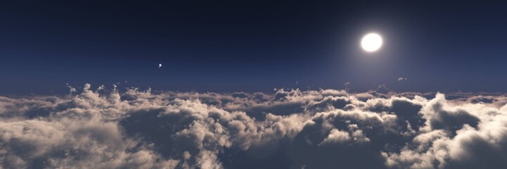 The moon over the clouds, View over the clouds, panorama of clouds at sunset, the sky with clouds and the sun aerial view, 3D rendering