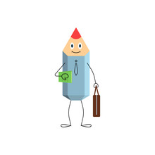 Pencil Character With Book And Briefcase