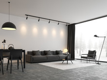 Minimal Style Living And Dining Room 3d Render,There Are Concrete Floor,white Wall.Finished With Black And White Furniture,The Room Has Large Windows. Looking Out To See The View Of Winter.