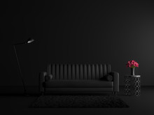 Minimal Style Black Living Room With Vinatage Sofa 3d Render.decorated With Black Carpets, Metal Tables, Industrial Style Lamps And Red Flowers In Vase.