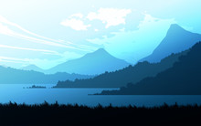 Mountains Lake And River Landscape Silhouette Tree  Horizon Landscape Wallpaper Sunrise And Sunset Illustration Vector Style Colorful View Background