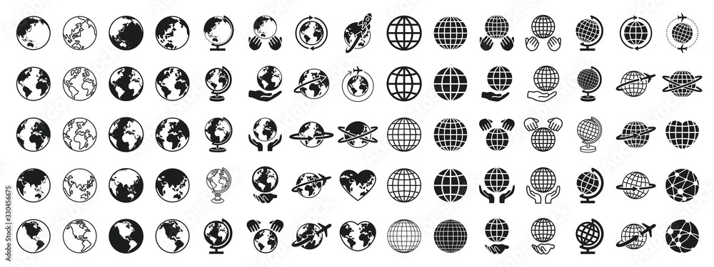 Fototapeta  Earth Global Black and White Set