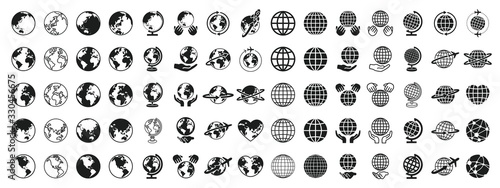 Fototapeta  Earth Global Black and White Set obraz