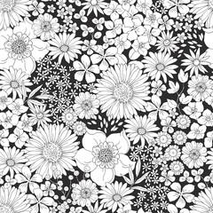 Crno-bijeli cvjetni uzorak s velikim i malim cvjetovima. Ručno nacrtana vektorska ilustracija u vintage stilu.