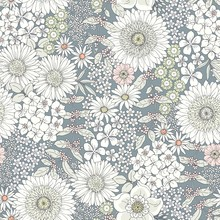 Seamless Cute Floral Pattern With Big And Little Flowers, Tender Pastel Colors. Vector Monochrome Illustration In Vintage Style On Gray-blue Background. Ditsy Print.