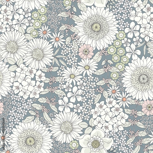 Tapety do Garderoby  seamless-cute-floral-pattern-with-big-and-little-flowers-tender-pastel-colors-vector-monochrome-illustration-in-vintage-style-on-gray-blue-background-ditsy-print